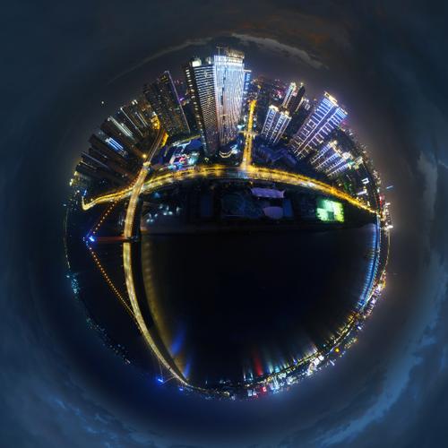 武汉航拍全景图——武汉鹦鹉洲长江大桥夜景