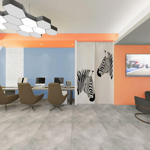 前厅方案10(顶面灰 纯色橙,墙面纯色橙 湖蓝)
