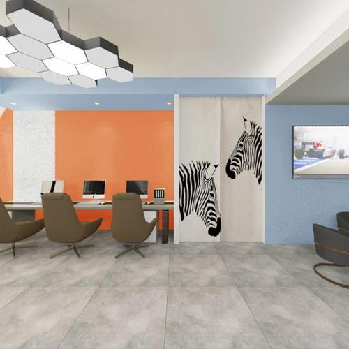 前厅方案11(顶面灰 湖蓝,墙面纯色橙 湖蓝)
