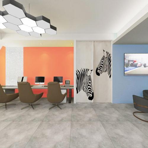前厅方案9(顶面灰,墙面纯色橙 湖蓝)