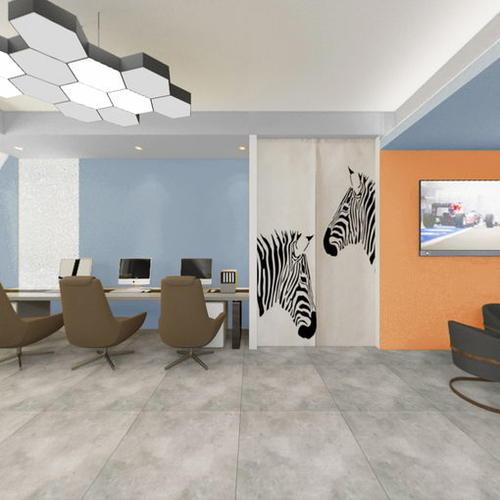 前厅方案12(顶面灰 湖蓝,墙面纯色橙 湖蓝)