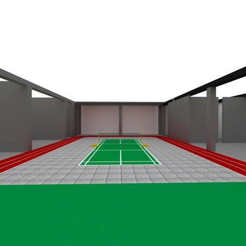 一个羽毛球篮球场场地