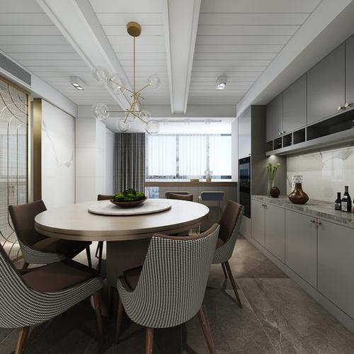 现代风格餐厨空间,温馨宁静高级